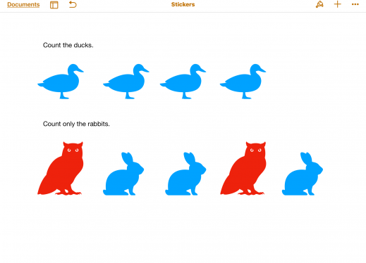 Screenshot of Counting Animals Pages worksheet; text & with row of four duck stickers; text & owl, 2 rabbits, owl, rabbit.
