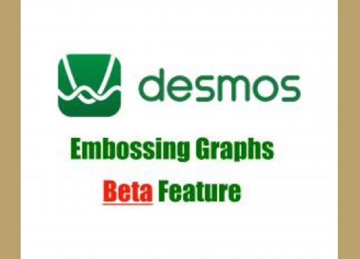 "Desmos logo and text, ""Desmos, Embossing graphs BETA feature"""