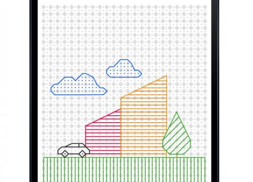 A Samsung tablet displaying Feelif Draw app: drawing of a red building, yellow building, green tree, blue clouds, and black car.