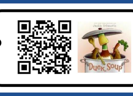 Card with QR code and Duck Soup book cover.