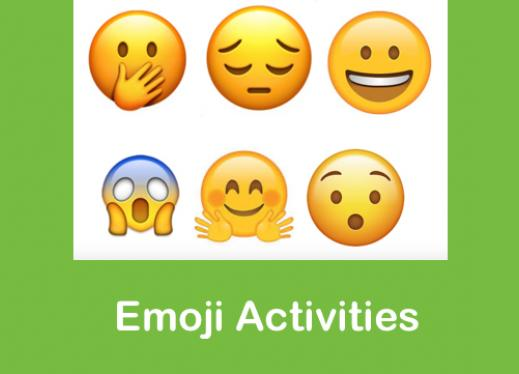 """6 face emojis displaying different emotions and text, """"Emoji Activities"""""""