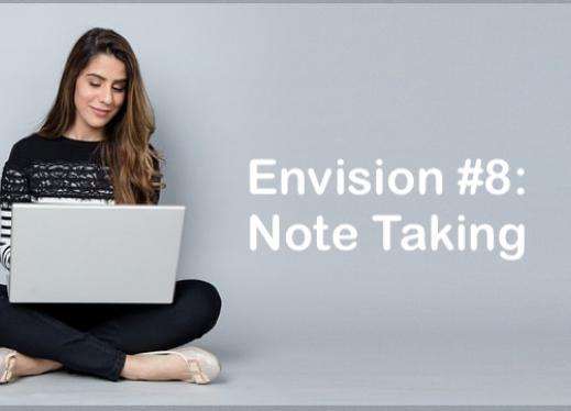 """College student sitting crosslegged on the floor with a laptop and text, """"Envision #8: Note Taking"""