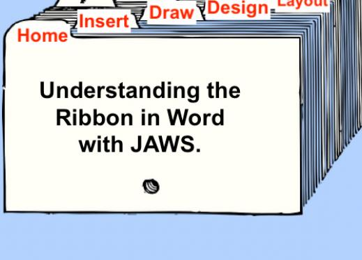 """stack of file folders with labeled tabs: """"Home, Insert, Draw, Design, Layout"""". Text, """"Understanding the Ribbon in Word with JAWS"""