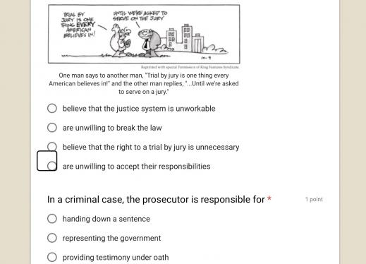Screenshot of Google Form with cartoon and two accessible multiple choice questions.