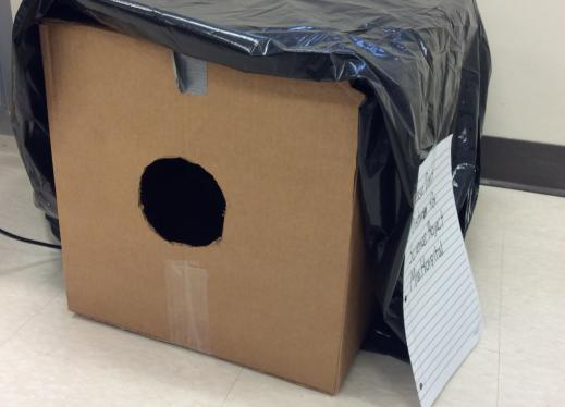 The image is of a box covered with a black plastic bag with a hole cut in the side.