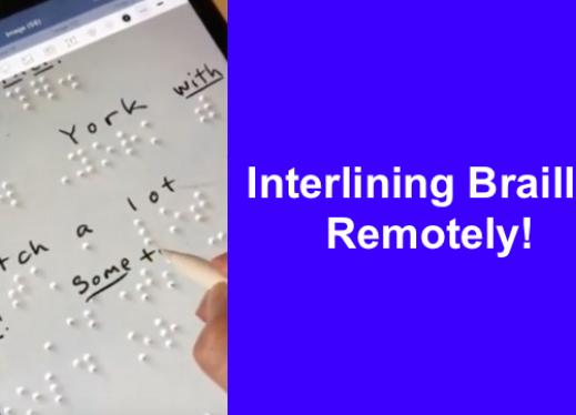 """Braille document on an iPad with Apple Pen writing corresponding print & Good Notes app. Text, """"Interlining Braille: Remotely"""""""