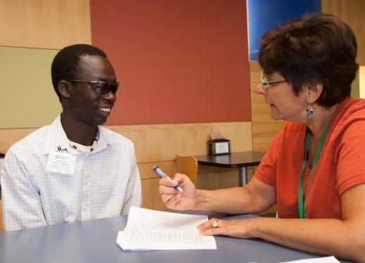 An adolescent who is blind is interviewed.