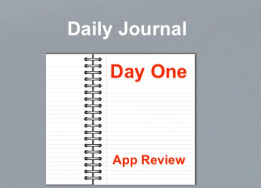 """Image of an open notebook with text, """"Daily Journal. Day One, App Review"""""""