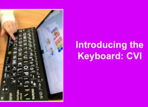 """Index finger on a Bluetooth keyboard with iPad open to keyboarding app. Text: """"Introducing the Keyboard: CVI"""""""