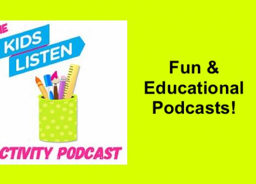 """Kids Listen logo for the Activity Podcast; text, """"Fun & Educational Podcasts"""""""
