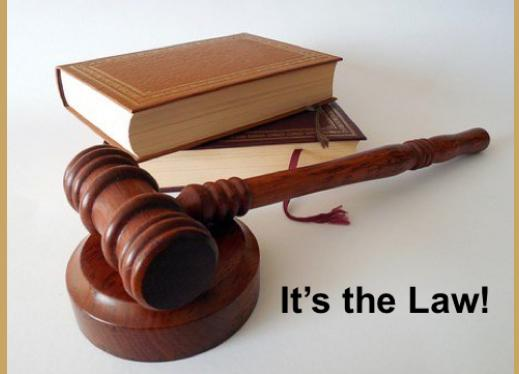 "Books and judge's gavel, with text, ""It's the Law""."