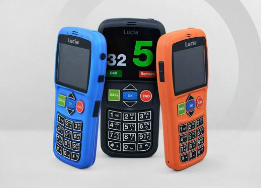 3 colorful Lucia smart phones with a large print screen, 5 simple different shaped buttons and a physical keypad.