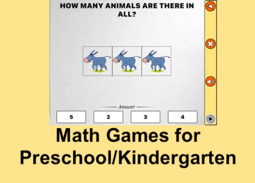 "Screenshot of Math Melodies counting game and text, ""Math Games for Preschool/kindergarten"""