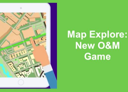"""cartoon image of a finger touching a sonified, highlighted street in the Map Explore app and text, """"Map Explore: New O&M Game"""""""