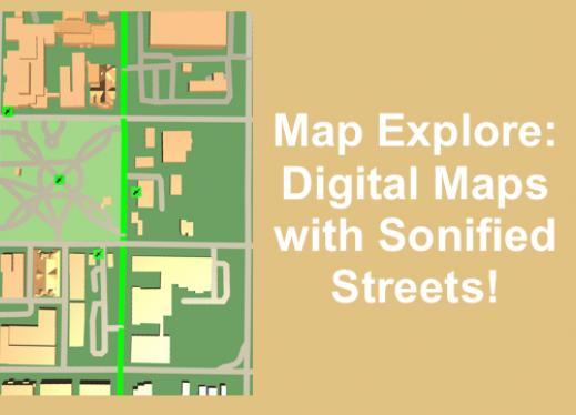 """Moore Square Map with sonified street highlighted and text, """"Map Explore: Digital Maps with Sonified Streets!"""""""