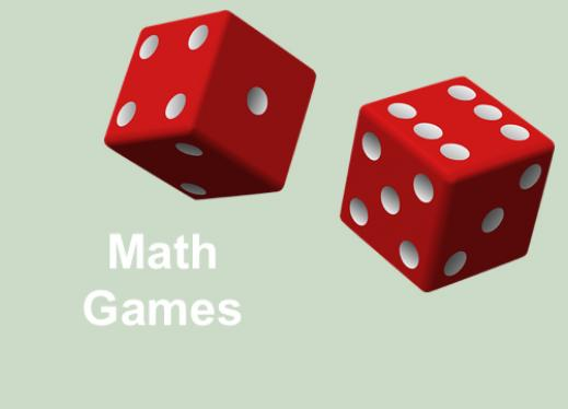 "Dice with text, ""Math Games""."