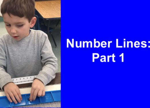First grade student with two hands counting out squares and moving a ladybug object to the desired number line 10-frame square.