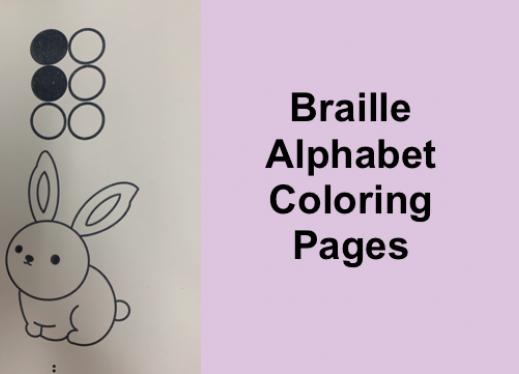 "Image of the B (bunny) tactile coloring page with text, ""Braille Alphabet Coloring Page"""