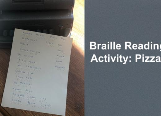 "photo of Mountain Mike's Pizza Menu in braille in front of a Perkins Brailler and text, ""Braille Reading Activity: Pizza!"""