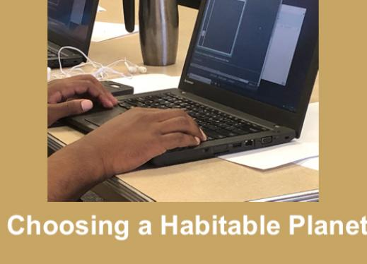"""photo of student's hands on a computer display an Accelerated chart and text, """"Choosing a Habitable Planet"""""""