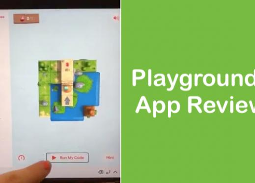 "Screenshot of Playgrounds video with character in maze and text, ""Playgrounds App Review"""