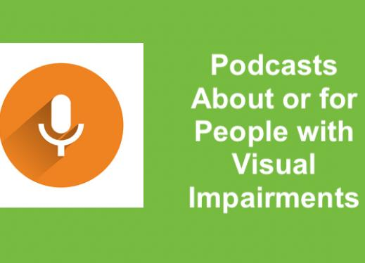 """Microphone/podcast symbol and text, """"Podcasts about or for people with visual impairments"""""""