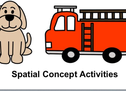 """Image with simple cartoon dog and firetruck with text, """"Spatial Concept Activities"""""""