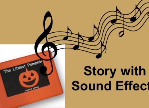 "Cover of APH's The Littlest Pumpkin tactile book, music notes and text, ""Story with Sound Effects""."