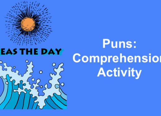 "image of waves and sun with text, Seas the day. ""Puns: Comprehension Activity"""