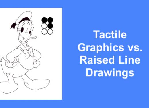 """PAIF-ready raised line coloring page of Donald Duck and text, """"Tactile Graphics vs. Raised Line Drawings"""""""