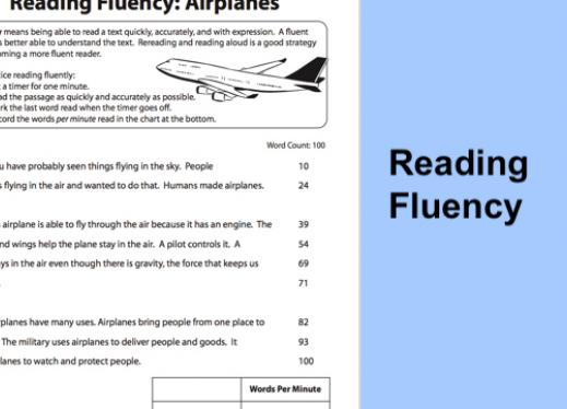 """image of the free Education.com reading fluency worksheet and text, """"Reading Fluency""""."""