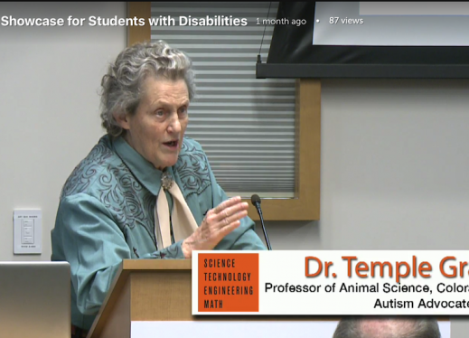 screenshot of Dr. Temple Grandin, keynote speaker for the 2017 STEM Career Showcase.