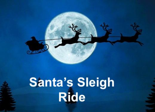 """Image of Silhouette Santa and Sleigh in front of a full moon with text, """"Santa's Sleigh Ride"""""""