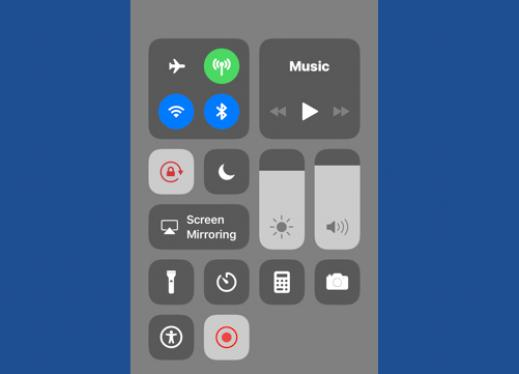 Screenshot of an iPhone's Control Center with the Screen Recorder symbol in red.