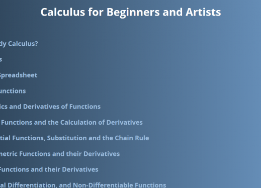 """Image of home page """"Calculus for Beginners and Artists"""""""