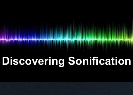 """Brightly colored sound wave with text, """"Discovering Sonification"""""""