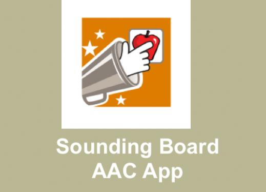 "Sounding Board logo and text, ""Sounding Board AAC App"""
