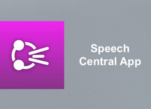 "Speech Central app logo and text, ""Speech Central"""
