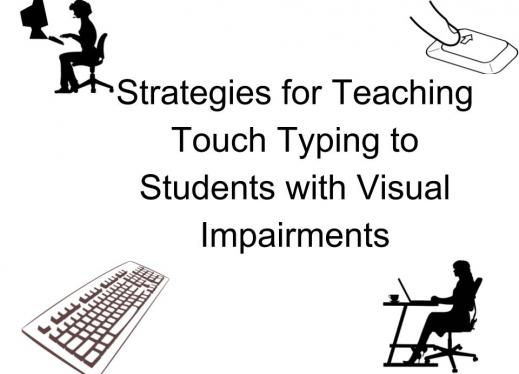 "Images of women typing at a computer &  keyboards with the text, ""Strategies for Teaching Touch Typing to Students with VIB"""