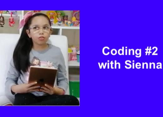 "Sienna sitting crosslegged in a comfy chair with her long black hair pulled over 1 shoulder holding an iPad, ""Coding with Sienna"