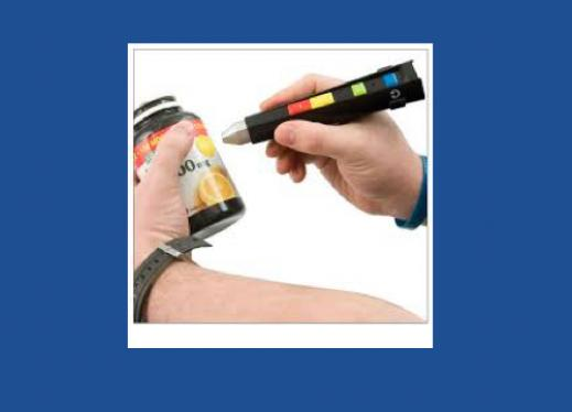A man's hands: one hand holding a vitamin jar & other hand holding a Talking Wand - a pen-like tool.