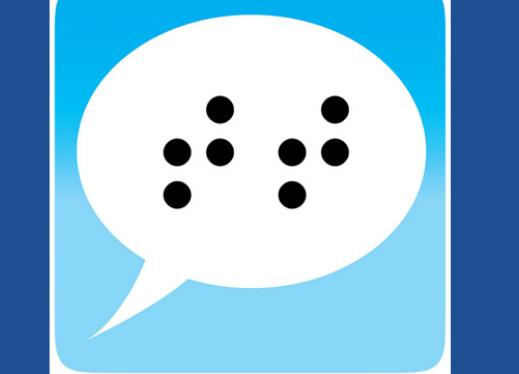 Talking Typer Logo: speech bubble with the braille letters 'TT'.