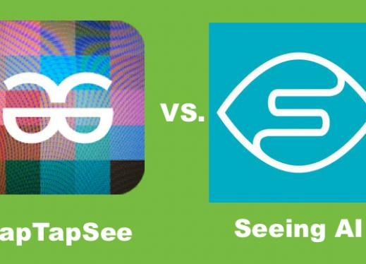 "Logos of TapTapSee and Seeing AI apps with Text, ""TapTapSee vs. Seeing AI"""