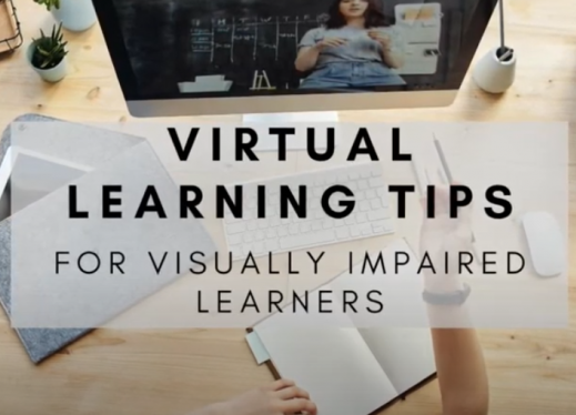"""virtual learning tips for visually impaired learners"" on background image of teacher's home office during remote instruction."