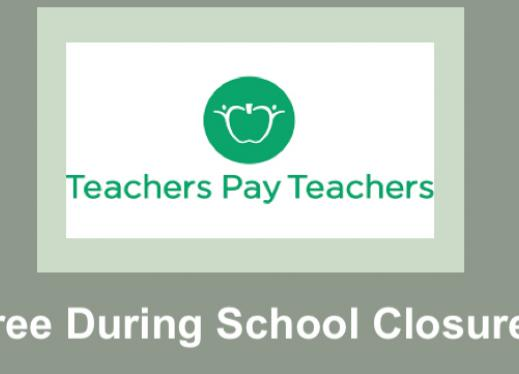"TpT logo and text, ""Free During School Closures"""