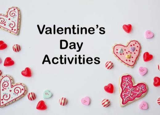 "Variety of candy hearts and text, ""Valentine's Day Activities"""