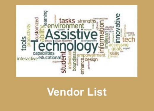 """Image composed of AT-related text; below the image is the text, """"Vendor List"""""""