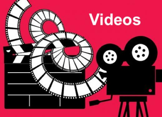 """Image of movie projector, film, and action board with text, """"Videos"""""""