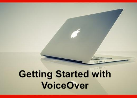 """Image of a Mac computer with text, """"Getting started with VoiceOver""""."""