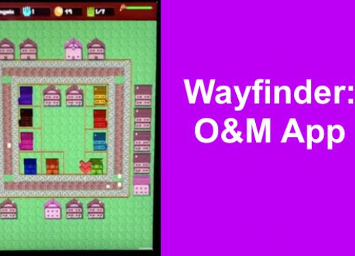 "Screenshot of Wayfinder: block with medieval buildings and streets. Text ""Wayfinder: O&M App"""